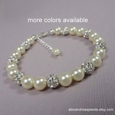 Wedding Bracelet, Swarovski Ivory Pearl Bridesmaid Bracelet, Bridesmaid Gift Bracelet, Maid of Honor Gift, Mother of the Bride Gift