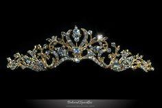 Dita Art Deco Wavy Gold Tiara   Swarovski Crystal