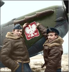 "Flight Lieutenant Tadeusz Czerwiński, the CO of ""A"" Flight of No. 306 Polish Fighter Squadron, and Flight Lieutenant Stanisław Skalski, the CO of ""B"" Flight, with the Polish national emblem. RAF Churchstanton, 26-28 January 1942. S/Ldr Tadeusz Czerwiński was KIA August 22 1942 (age 32) Stanisław Skalski - died November 12 2004 (Photo source - © IWM (CH 4793) Daventry, Bertrand John Henry (Flight Lieutenant) (Photographer)"
