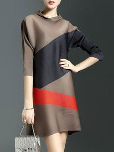 Brown Crew Neck Color-block A-line Simple Mini Dress