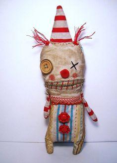 Handmade Rag Doll Monster Clown Topsy by JunkerJane on Etsy