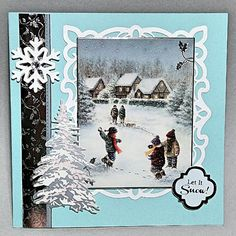 Recycled Christmas card with sue wilson frame and hunkydory sentiment