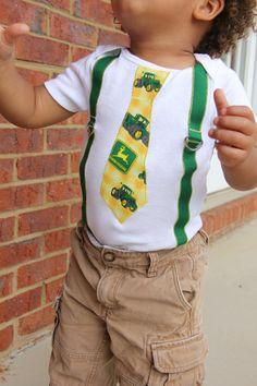 John Deere Tie and Green Suspenders Onesie or by TennesseeTots, $19.99