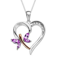XPY Sterling Silver and 14k Rose Gold Butterfly Heart Pendant Necklace