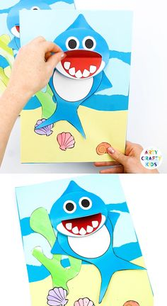 Swimming Baby Shark Craft for kids. A fun and engaging shark craft that kids will love, with a printable shark template available to make the craft super easy. - Kids education and learning acts Family Crafts, Paper Crafts For Kids, Crafts For Kids To Make, Baby Crafts, Fun Crafts, Arts And Crafts, Adult Crafts, Kids Diy, Decor Crafts
