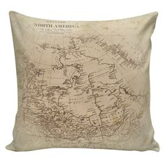 Vintage French Map of North America from Antique Document Burlap Cotton Throw Pillow Cover FR-56 Elliott Heath Designs