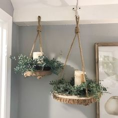 Set your mantel or table with these beautifully distressed metal candle holders. Painted in the perfect creamy white with a dark gray layer under the distressin Crafts Hanging Paulownia Wood Slices with Jute Rope Diy Wood Projects, Wood Crafts, Wood Slice Crafts, Woodworking Projects, Antler Crafts, Woodworking Planes, Woodworking Garage, Woodworking Techniques, House Projects