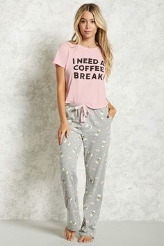 Forever 21 Coffee Break & Pardon My Frenchie Pajama Set , Lazy Day Outfits, Cute Comfy Outfits, Casual Outfits, Cool Outfits, Fashion Outfits, Cute Pjs, Cute Pajamas, Girls Pajamas, Lounge Outfit