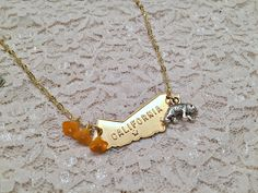 California Love Necklace, California Necklace, California Jewelry, California State Necklace, California Poppy Charms, CA Bear Necklace by DaydreamingAway on Etsy https://www.etsy.com/listing/221642805/california-love-necklace-california