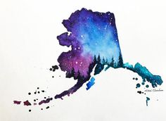 Alaska Map Original Watercolor Painting by NiksPaintGallery