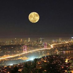 Full Moon over Istanbul, Turkey. - Judy Waller - - Full Moon over Istanbul, Turkey. Beautiful Moon, Most Beautiful Cities, Wonderful Places, Antalya, Places Around The World, Around The Worlds, Night City, Night Skies, Places To See
