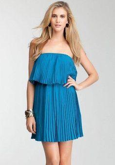 bebe Strapless Pleated Dress Day Dresses Turkish Tile-s