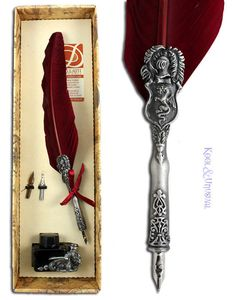 Fantastic BURGUNDY RED Italian Feather QUILL Pen and Ink Set with DRAGON