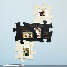 Custom puzzle pieces that grow with your family starting with your wedding day!