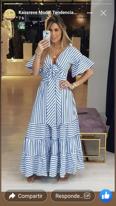 Outfits ideas & inspiration : Now I will share some ideas of striped dresses to wear in spring, striped dresses and bows to wear in spring, striped dresses and belt to wear in spring, Casual Dresses, Fashion Dresses, Summer Dresses, Look Fashion, Womens Fashion, Fashion Design, African Dress, Striped Dress, African Fashion