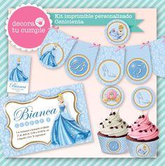 Cinderella Party Printable Kit / Kit imprimible Cenicienta www.decoratucumple.weebly.com