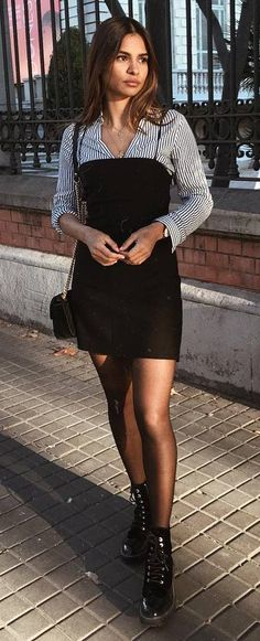 trendy outfit idea / stripped shirt + black dress + boots + bag