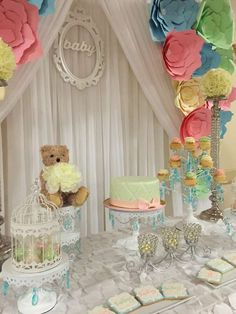 Pretty Baby Shower with a wonderful paper flower backdrop! See more party ideas at CatchMyParty.com