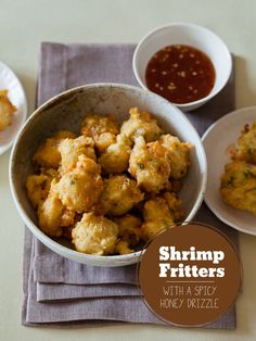 A recipe for Shrimp Fritters with a spicy honey drizzle.