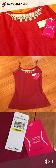 "NWT jeweled camisole. Designed to flatter tummies. Deep red brand new ""Yummie Tummie"" camisole embellished with gorgeous jewels. A perfect addition to any closet. Yummie by Heather Thomson Tops Camisoles"