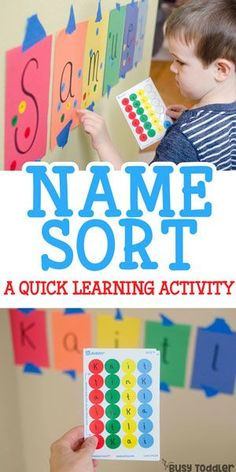 Easy activity for name recognition – Busy Toddler Easy activity for name recognition Sticker Name Recognition Activity: an easy indoor activity that toddlers will love! A great learning activity. Alphabet activity for preschoolers. Preschool Names, Preschool Classroom, Toddler Preschool, In Kindergarten, Toddler Games, Home Preschool, Name Games For Kids, 3 Year Old Preschool, Preschool Letters