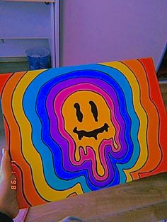 Easy Canvas Art, Simple Canvas Paintings, Small Canvas Art, Cute Paintings, Mini Canvas Art, Diy Canvas, Easy Art, Hippie Painting, Trippy Painting