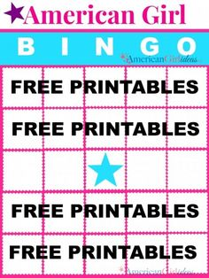 Who doesn't love playing Games? There is nothing more fun than playing American Girl Bingo. You can print the FREE Bingo Printable cards here. Addy American Girl, American Girl Birthday, American Girl Books, American Girl Doll Games, American Girl Parties, American Girl Crafts, Girls Birthday Party Games, Girls Tea Party, 8th Birthday