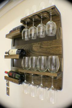 NEED IT!!! Amazing Ash Stained Wall Mounted Wine Rack with Shelves and Decorative Dark Bronze Metal Mesh, Wine and Liquor Shelf and Cabinet