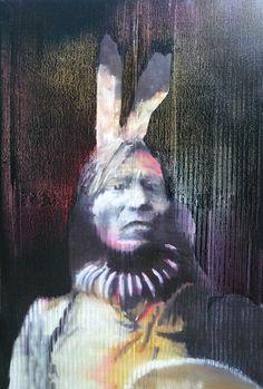 "Saatchi Online Artist: marc carniel; Oil Pastel, 2012, Drawing ""Sitting bull"""