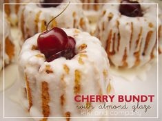 Cherry Bundt Cake with Almond Glaze {recipe} - Kiki & Company - Leyla&BundtCake Bunt Cakes, Cupcake Cakes, Cupcakes, Mini Tortillas, Mini Desserts, Dessert Recipes, Mini Bunt Cake Recipes, Plated Desserts, Almond Glaze Recipe