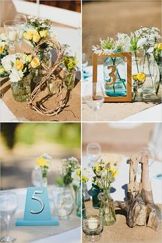 I love original ideas for table decor.  These are original, perfect for outdoor. #table decor, #reception