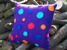 Purple Wool Cushion / Pillow  Orbit Range by WoollyLakes on Etsy, £22.00