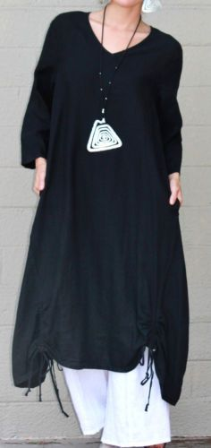 ETLOIS-USA-Linen-VENUS-TUNIC-Long-Drawstring-Detail-Dress-S-M-L-XL-BLACK