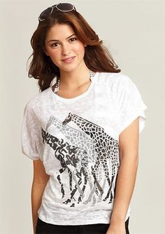 dELiAs > Lace Giraffe Tee > tops > graphic tees > view all graphic tees - StyleSays