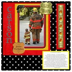 firefighter scrapbook pages with one 5x7 photo - Google Search
