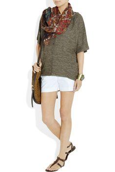 McQueen printed scarf and MK raffia-straw bag