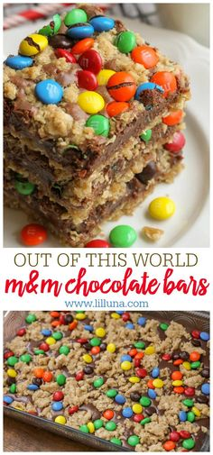 One of the best bar recipes you'll ever try! These M&M Chocolate Oat bars h… One of the best bar recipes you'll ever try! These M&M Chocolate Oat bars have layers of oats, a sweetened condensed milk and chocolate center topped with more oats and M&Ms. M&m Chocolate Bar, Chocolate Oat Bars Recipe, Chocolate Recipes, Chocolate Ganache, Chocolate Chips, Chocolate Topping, White Chocolate, Dessert Chocolate, Chocolate Covered