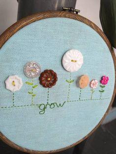 Button Flower GROW hoop - NEEDLEWORK