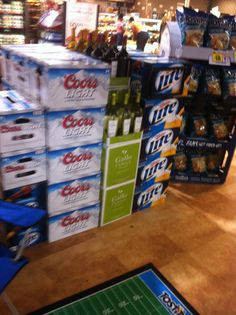 Harris Teeter season kickoff tailgate display with Panthers partners Frito-Lay, Miller, and Gallo