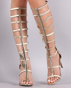 80f72080650 Anne Michelle Metallic Ornament Elasticized Gladiator Heel Mid Calf Boots
