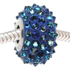 Swarovski Crystal, 80401 BeCharmed Pave Spikes European Style Lg Hole Bead 16mm, 1 Pc, Bermuda