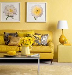 Inspiring Yellow Sofas To Perfect Living Room Color Schemes 131 - DecOMG Living Room Color Schemes, Perfect Living Room, Yellow Interior, Living Room Designs, Living Room Grey, Monochromatic Room, Yellow Living Room, Apartment Decor, Colorful Apartment Decor