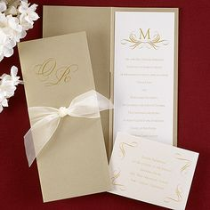 Golden Moment (Invitation Link - http://occasionsinprint.carlsoncraft.com/Weddings/Invitations/3124-BSN9178-Pearl-Shimmer-with-Gold-Wrap--Invitation.pro)