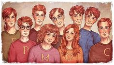 In order from back: Ron, Arthur, Fred, George In order from front: Bill, Percy, Molly, Ginny, Charlie