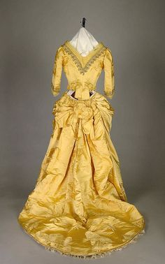 House of Worth Dresses | Yellow evening dress, House of Worth, ca. 1888 (back)