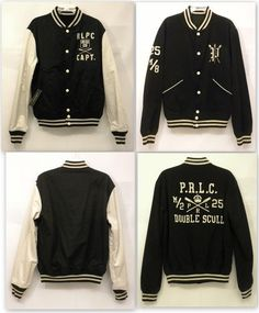 1507a74073d Details about Ralph Lauren Polo Black Double Scull Capt Reversible Varsity  Jacket Men Med NWT