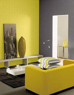 prachtig geel in contrast met grijs more decor blij geel ideeen thuis ...