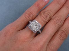 4.41 ctw Radiant Cut Diamond Engagement Ring I SI2. For sale on our website www.bigdiamondsusa.com or call us Toll Free at 1-877-795-1101 for more information.