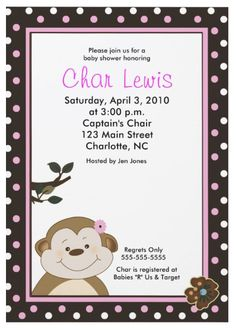 Shocker...another super cute monkey baby shower invite.