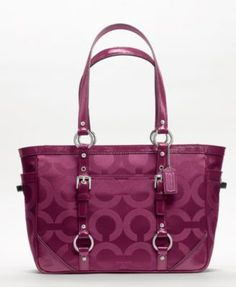 COACH OP ART SATEEN GALLERY TOTE, - A classic, versatile tote in graphic Op Art sateen, with custom buckles and rings, slender straps and hand-worked leather trim.